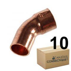Lot de 10 coudes cuivre à souder MF 45° grand rayon Ø22