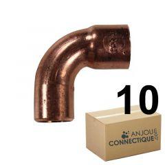 Lot de 10 coudes cuivre à souder MF 90° grand rayon Ø16