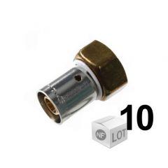 """Lot de 10 raccords à sertir Ø12x1,1 - Femelle écrou Libre 1/2""""(15/21)"""