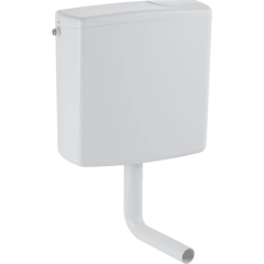 Réservoir apparent Geberit AP140, rinçage interrompable, alimentation latérale ou à l'arrière au centre, avec couvercle de chasse d'eau vissé : Blanc alpin - Geberit