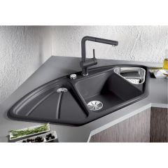 Évier en céramique noir BlancoDelta - sous-meuble de 90 x 90/70 cm - Dim. L 1053 x l 570 x P 170/113 mm - Blanco