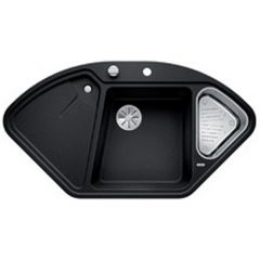 Évier de cuisine BlancoDelta II - Anthracite - sous-meuble 90x90x80 cm - L 1057 x l 575 x P 183/120 mm + vide-sauce - Blanco