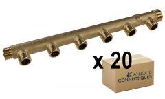 """Lot de 20 x Collecteurs mâle femelle 3/4"""" - 6 départs 1/2"""" (15/21) - Entraxe 50mm - Arcanaute"""