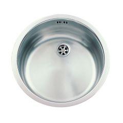 Évier de cuisine Ronde en Inox lisse - Ø435 x P 170 mm - sous-meuble de 45 cm - Aquatop
