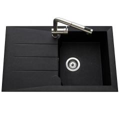 Évier de cuisine noir MAJORQUE - L 810 X l 500 X P 210 mm - sous-meuble 50 cm - Aquatop