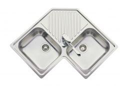 Évier de cuisine d'angle - Inox lisse - L 830 x l 830 x P 180 mm - sous-meuble 90 cm - Aquatop