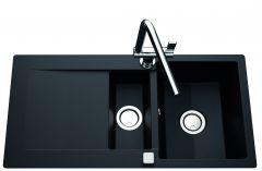 Évier de cuisine Cristalite EPURE avec vide sauce - L 1000 x l 500 x P 181 mm - sous-meuble 60 cm - Nero