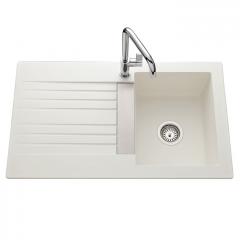 Évier de cuisine blanc TREVISE - L 860 x l 500 x P 195 mm - sous-meuble 45 cm - Aquatop