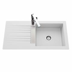 Évier de cuisine blanc TREVISE - L 1000 x l 500 x P 185 mm - sous-meuble 60 cm - Aquatop