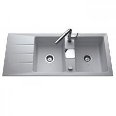 Évier de cuisine aluminium mat GENEA - L 1160 x l 510 x P 200 mm - sous-meuble 90 cm - Aquatop