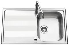 Évier de cuisine en Inox lisse Bologna - L 860 x l 500 x P 190 mm - sous-meuble 50 cm - Aquatop