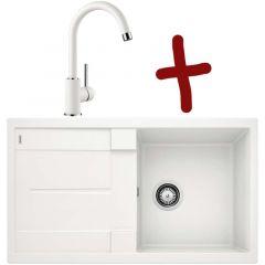 Pack évier Metra 5S L 860 x l 500 x P 190 mm + Mitigeur Mida - Blanc - Sous-meuble 50 cm - Blanco