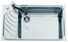 Évier de cuisine en Inox lisse avec égouttoir à gauche - L 860 x l 510 x P 220 mm - sous-meuble 80 cm - Aquatop