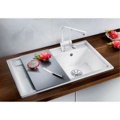 Évier en céramique Zenar 45S blanc cristal - sous-meuble 45 cm - L 860 x l 510 x P 185 mm - Égouttoir à droite - Blanco