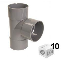 Lot de 10 Tés pied de biche PVC d'évacuation 87°30 - Femelle Femelle Ø32 ou Ø40 ou Ø50 - Nicoll