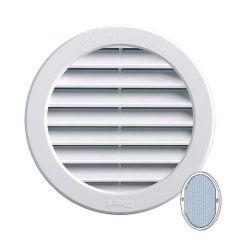 Grille ventilation ronde PVC blanc + moustiquaire - A encastrer
