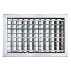 Grille ventilation 220x150mm - Blanc - Ailettes sans rideau (Fixe)