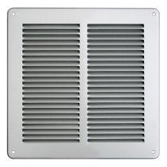 Grille ventilation métal 240x240mm avec moustiquaire - Couleur inox
