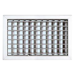 Grille cheminée à encastrer 220x150mm - Blanc - Ailettes avec rideau
