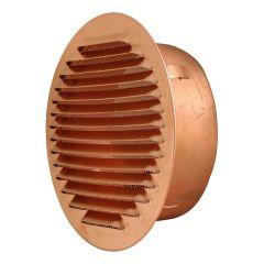 Grille ventilation ronde à encastrer Cuivre Ø100mm - Ø tube 80mm