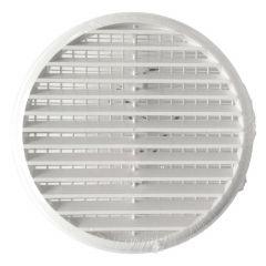 Grille ventilation ronde PVC blanc avec ressorts + moustiquaire