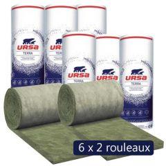 6 paquets de 2 rouleaux laine de verre URSA Façade 32 R - Ep. 120mm - 28,80m² - R 3.75