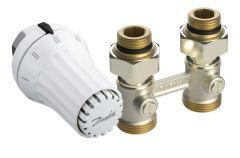 """Kit complet pour radiateur  avec robinetterie intégrée 6 orifices Mâle 1/2"""" (15/21) et Femelle 3/4"""" (20/27) droit - Danfoss"""