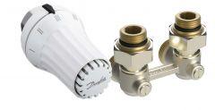 """Kit complet pour radiateur  avec robinetterie intégrée 6 orifices Mâle 1/2"""" (15/21) et Femelle 3/4"""" (20/27) en équerre - Danfoss"""