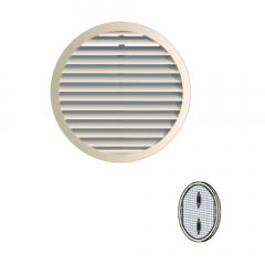 Grille ronde à clipser plastique avec moustiquaire - Sable - Ext. Ø175 mm - First Plast