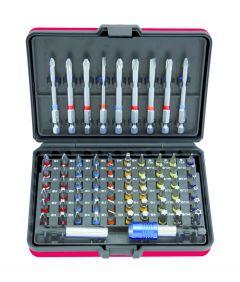 Jeu d'embouts de vissage à code couleur TORSIONpower 1/4'', 71 pcs KS Tools 918.3070