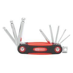 Jeu de 8 clés mâles 6 pans à tête sphérique sur monture KS Tools 158.3520