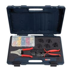 Jeu de 8 outils pour le sertissage et le dénudage + cosses KS Tools 115.1400