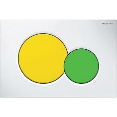 Plaque de déclenchement blanche avec touche jaune et verte Sigma01 pour bâti-support Duofix - Geberit