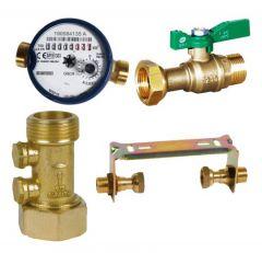 Kit compteur eau froide avec robinet compteur NF, clapet anti-pollution et support