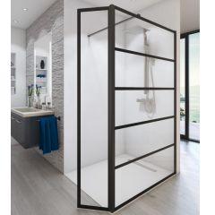 Paroi de douche ouverte Baleares Atelier 2 - 1980x1200mm - verre Timeless 8mm - Saint-Gobain Verrerie Aurys