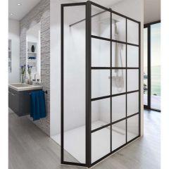 Paroi de douche ouverte Baleares Atelier 3 - 1980x1000mm - verre Timeless 8mm - Saint-Gobain Verrerie Aurys