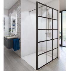 Paroi de douche ouverte Baleares Atelier 3 - 1980x1400mm - verre Timeless 8mm - Saint-Gobain Verrerie Aurys