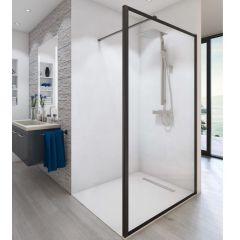 Paroi de douche ouverte Baleares Atelier 4 - 1980x1400mm - verre Timeless 8mm - Saint-Gobain Verrerie Aurys