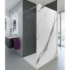 Paroi de douche ouverte Baleares Calacatta - 1980x1000mm - verre Timeless 8mm - Saint-Gobain Verrerie Aurys