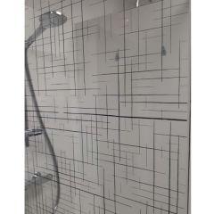 Paroi de douche ouverte Baleares Reflecto Black - 1980x1400mm - verre Timeless 8mm - Saint-Gobain Verrerie Aurys