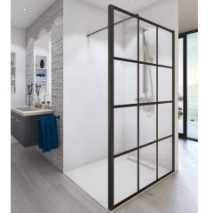 Paroi de douche ouverte Baleares Atelier 7 - 1980x1400mm - verre Timeless 8mm - Saint-Gobain Verrerie Aurys