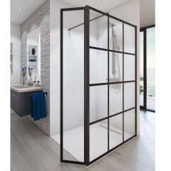 Paroi de douche ouverte Baleares Atelier 7 - 1980x1200mm - verre Timeless 8mm - Saint-Gobain Verrerie Aurys