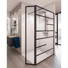 Paroi de douche ouverte Baleares Atelier 10 - 1980x1000mm - verre Timeless 8mm - Saint-Gobain Verrerie Aurys