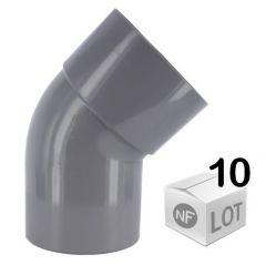 Lot de 10 raccords PVC - Coude 45° MF Ø32 ou Ø40 ou Ø50 ou Ø100 FIRST-PLAST