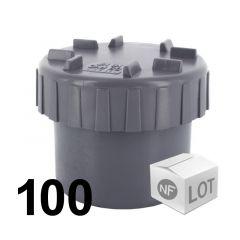 Lot de 100 raccords PVC - Tampons de visite Mâle Ø50 NF ME First Plast