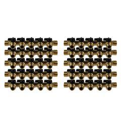 """Lot de 10 Collecteurs mini-vanne M/F 3/4"""" (20/27) - 1/2"""" (15/21) - 5 piquages M 1/2"""" (15/21)"""