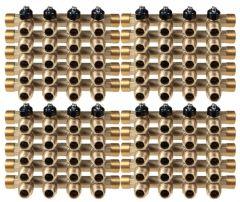 """Lot de 20 Collecteurs mini-vanne M/F 3/4"""" (20/27) - 1/2"""" (15/21)  - 4 piquages M 1/2"""" (15/21)"""