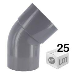 Lot de 25 raccords PVC - Coudes 45° MF Ø100