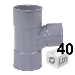 Lot de 40 raccords Tés pied PVC 87°30 Femelle Femelle Ø50 FIRST PLAST