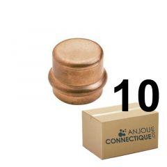 Lot de 10 raccords cuivre à sertir Bouchon Femelle Ø12